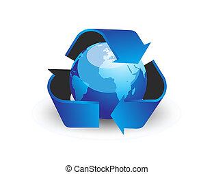 globe, -, vector, richtingwijzer, recycleren symbool