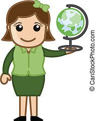globe, vector, vasthouden, vrouw