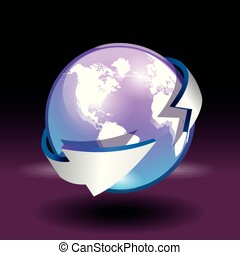 Globe vector world map on colored background