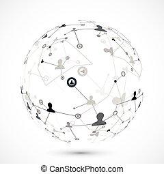 globe, verbinding, menselijk