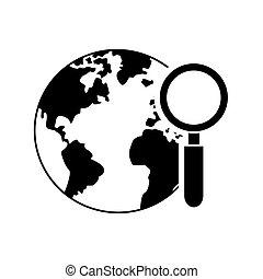 globe verre, icône, magnifier, la terre