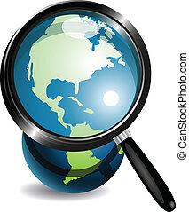 globe verre, magnifier, sous