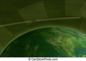 globe, vert, atmosphère