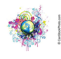 globe, vert, illustration