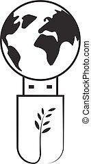 globe vert, technologie, usb