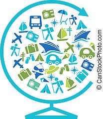 globe, vervoer, het reizen, mal