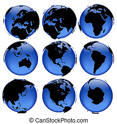 Globe views #4 - Set of rasterized pseudo 3d globe views -...
