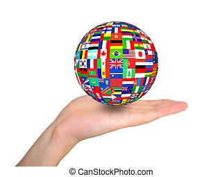 globe, vlaggen, hand
