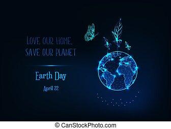 globe, vlinder, blue., spruiten, glowlow, aarden dag aan, poly, tekst, plant, spandoek, donker