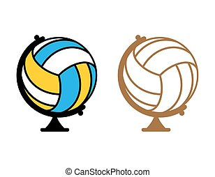 Globe volleyball. World game. Sports accessory as earth ...