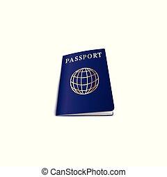 globe, voyage, couverture, illustration, vecteur, isolated., réaliste, passeport
