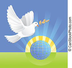 globe, vrede, duif