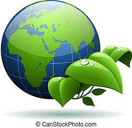 globe, vrijstaand, achtergrond., groene, glanzend, aarde, witte , bladeren