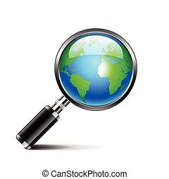 globe, vrijstaand, glas, achtergrond, aarde, witte , vergroten