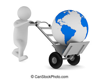 globe, vrijstaand, hand, achtergrond., vrachtwagen, witte , beeld, 3d