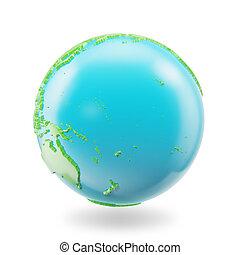 globe, vrijstaand, rendring, planeet, achtergrond., pictogram, aarde, witte , 3d