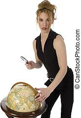 globe, vrouw, reizen