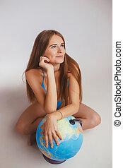 globe, vrouw, volgende