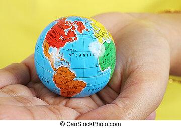 globe, vrouwlijk, holdingshand