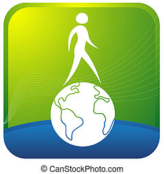 globe, wandelende, menselijk
