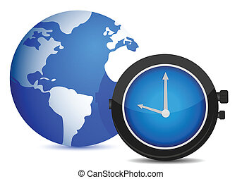 globe watch illustration design