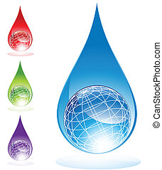 Globe water drop isolated image on a white background.