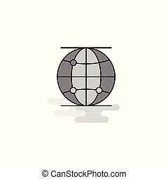 Globe Web Icon. Flat Line Filled Gray Icon Vector