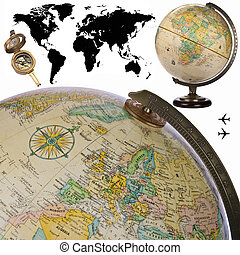 globe, -, wereldkaart, -, cutout