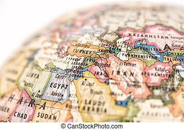 Close-up of West Asia in the colorful world map.