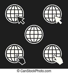 Globe - white icon on black background. Vector illustration