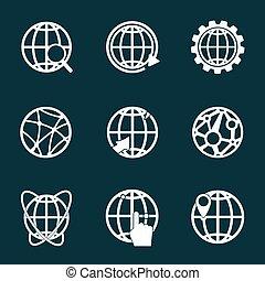 Globe white icons