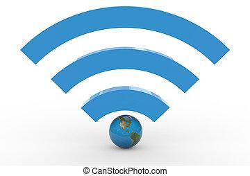 globe., wifi, signal., meldingsbord, hoog, aarde, 3d