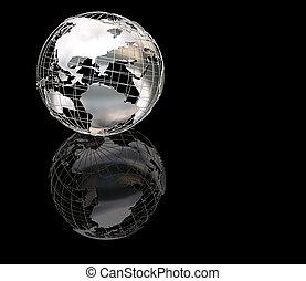 globe, wiireframe, métallique