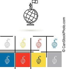 Globe win icon vector