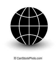 globe wireframe icon black isolated on white background illustration with shadow