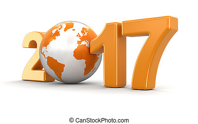 Globe with 2017. Image with clipping path.