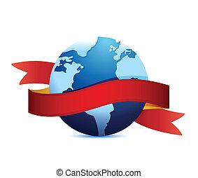 globe with a black ribbon. illustration