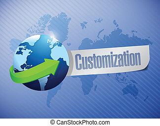 globe with a customization message illustration