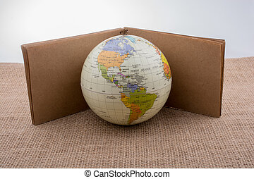 Globe with a notebook on canvas