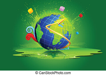 Globe with abstract background