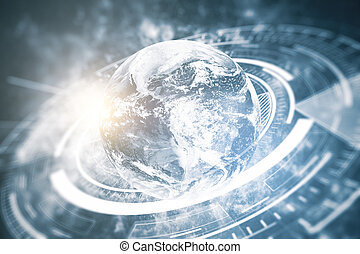 Global business technologies concept - Globe with abstract...