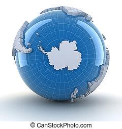 Globe with Antarctica, 3d render