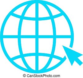 Globe with arrow vector icon