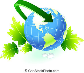 Globe with arrow with nature background