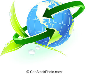Globe with arrow with nature background Original Vector Illustration Globes and Maps Ideal for Business Concepts