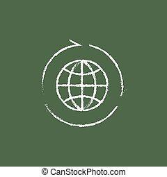 Globe with arrows icon drawn in chalk.
