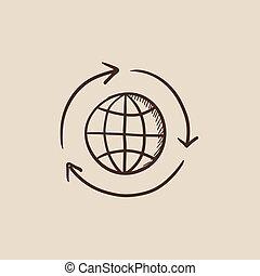 Globe with arrows sketch icon.