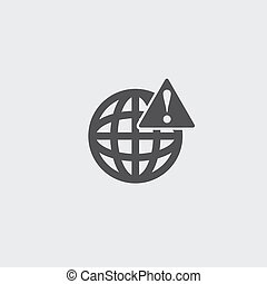Globe with attention sign icon in a flat design in black color. Vector illustration eps10
