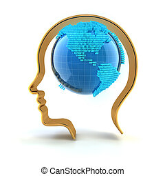 Globe with binary code in a human head