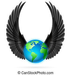 Globe with black wings on white